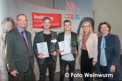 Dachpower Klausner, Salzburg, Dachdecker, Auszeichnung WKO, bester Lehrbetrieb, Lukas Klausner, bester Lehrling 2017